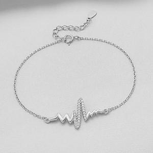 Stříbrný náramek - srdeční tep