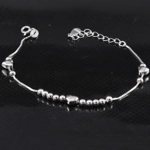 Luxusní stříbrný náramek srdce a korálky