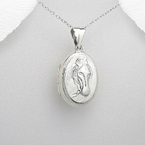 Stříbrný medailonek na fotku - kůň