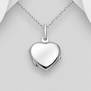 Stříbrný medailonek na fotku otevírací - srdíčko